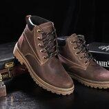 Зимние мужские ботинки Clarks brown, натур.кожа