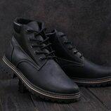 Зимние мужские ботинки Clarks черные мат, натур.кожа