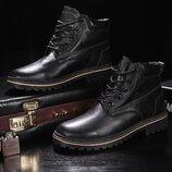Зимние мужские ботинки Clarks black, натур.кожа