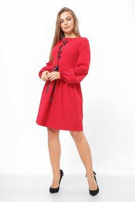 Продано: Стильное женское платье с имитацией корсета. Красное/черное