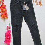 Суперовые модные стрейчевые укороченные джинсы супер скинни с рваностями New Look.