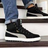 ботинки зимние Puma Suede кроссовки на меху мужские