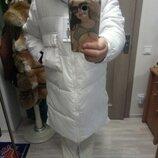 дутое синтепонновое пальто зима-осень.,меховой капюшон