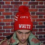 Шапка черная Off-white с бубоном Red.Купить офф вайт в Украине.