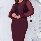 Платье с кружевом Мартина батал. Размеры 50,52,54,56.