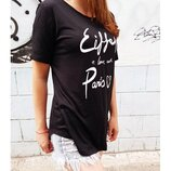Футболка женская, принт-белая надпись Eiffel in Love with Paris OLDNAVY