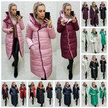 Оригинальная женская зимняя куртка двухсторонняя удлинённая на кнопках S M L XL