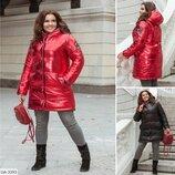 Двухсторонняя куртка женская зимняя зефирка синтепон 250 батал размеры 48-50 52-54 56-58