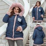 Куртка женская зимняя джинсовка с капюшоном батал размеры 48-50 52-54 56-58