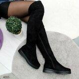 Женские зимние высокие сапоги ботфорты на плоской подошве