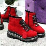 Женские натуральные красные замшевые короткие зимние ботинки