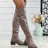 Код 4354/1 Зимние ботфорты Европейка Натуральная кожа Внутри шерсть по щиколотку Высота каблука 6 с