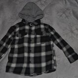 Байковая рубашка с капюшоном Next на 4 года рост 104