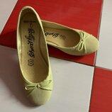 Бомбезные лимонные кожаные балетки туфли M&S/100%кожа
