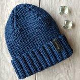 шапка вязаная на спицах зимняя