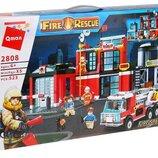 Конструктор Qman 2808 Пожарная станция. Пожарные спасатели