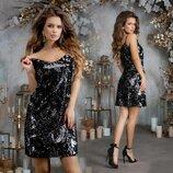 Стильное вечернее короткое платье 7291 Пайетка Хамелеон Мини в расцветках