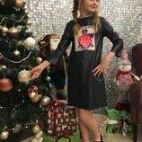 Модное кожаное платье для девочки