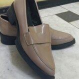 Стильные туфли,25см,размер 38.Цвет -тауп.Португалия.Лоуферы
