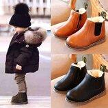 Зимние ботинки детские на мальчика и девочку. Ботинки зимние черного цвета. Сезон тёплая зима,р21-33