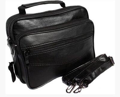 Компактная мужская сумка из кожи, есть длинный ремень в комплекте