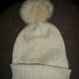 шапка с натуральным помпоном