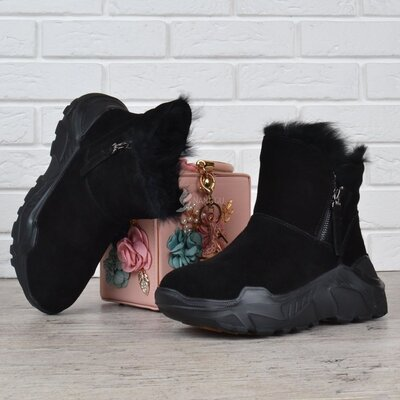 Ботинки женские зимние замшевые на платформе Jazz опушка кролик черные
