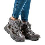 Женские зимние серые кроссовки ботинки с натуральным мехом