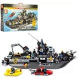 Конструктор 102467. Конструктор Sembo. Корабль спецназа аналог Lego City. Конструктор аналог Лего.