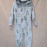 Плюшевая/махровая мега теплая пижама с принтом котики/слип/кигуруми с ушками