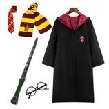 Костюм Гарри Поттера с символикой Гриффиндор - мантия, очки, шарф, галстук, волшебная палочка