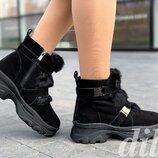 Ботинки женские зимние замшевые черные на платформе на толстой подошве, полуботинки