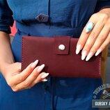 Клатч кошелёк женский из натуральной кожи с отделами для монет карт денег и телефона