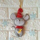 Мышка, крыса из фетра символ года Hend meid ручная работа