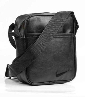 Мужская сумка NIKE из эко-кожи, мессенджер Найк, черная сумка через плечо, барсетка N-202пл