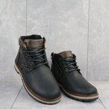 Ботинки подростковые Yuves 784 черные-матовые натуральная кожа, зима