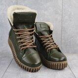 Ботинки женские CrosSav 151 зеленые натуральная кожа, зима
