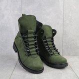 Ботинки женские Vikont 7-7-32 зеленые натуральная кожа, зима