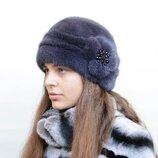 Женская зимняя норковая шапка шарик защип бусы 044