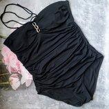 L 46-48р Черный слитный купальник бандо,бюстье