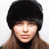 Женская норковая шапка Кашемир бусы 125
