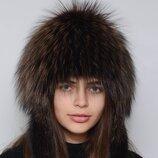 Женская меховая шапка парик снопик с ушками из меха чернобурки 405