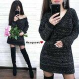 Вязаная стильная туника платье М388