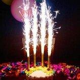 Холодный фонтан 6 шт 12см, свечи в торт