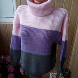 стильный трехцветный вязаный свитер оверсайз с горлом