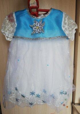 Нарядное новогоднее платье на девочку 1 - 2 года, наряд снежинки