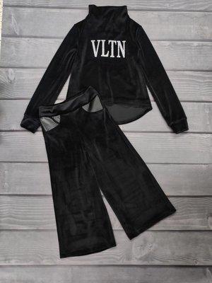 Стильний комплект для дівчат підлітків з чорного королівського бархату