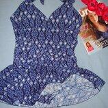 купальник платье сдельное размер 48 / 14 синий с юбочкой чашка C D новый слитный свим дресс