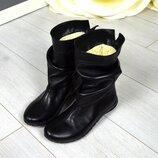 Кс66547З Зимние женские кожаные сапоги черные