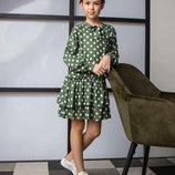Стильна сукня в горохи для дівчинки